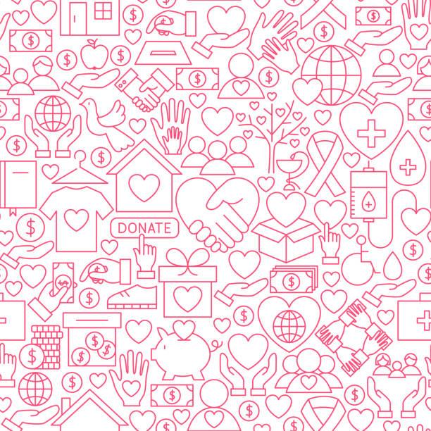 Donation White Line Seamless Pattern vector art illustration