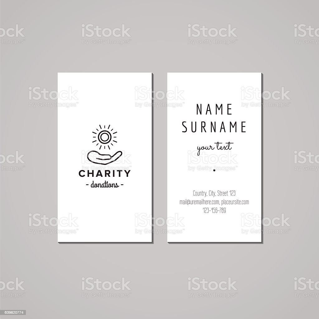 Donations And Charity Business Card Design Hand And Coin Logo Stock ...