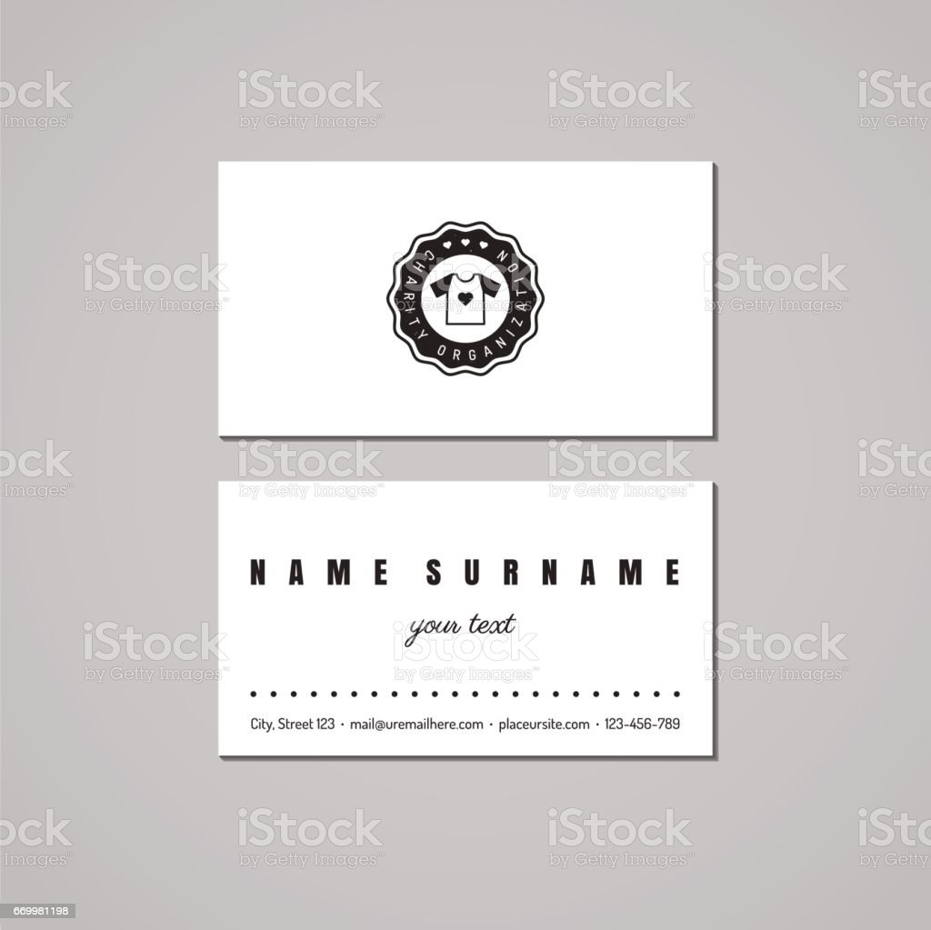Donations And Charity Business Card Design Symbol With Tshirt ...