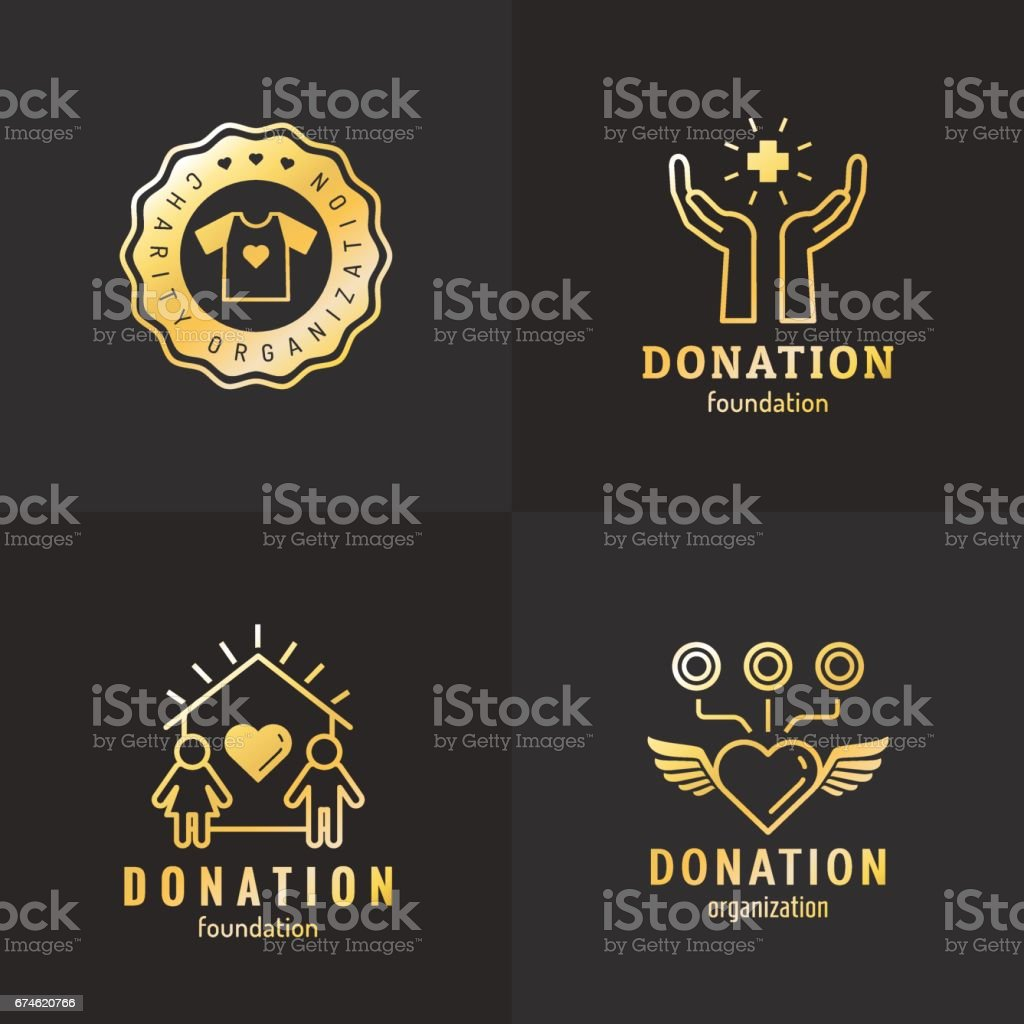 Donations and charity gold icon vintage vector set. Part three. vector art illustration