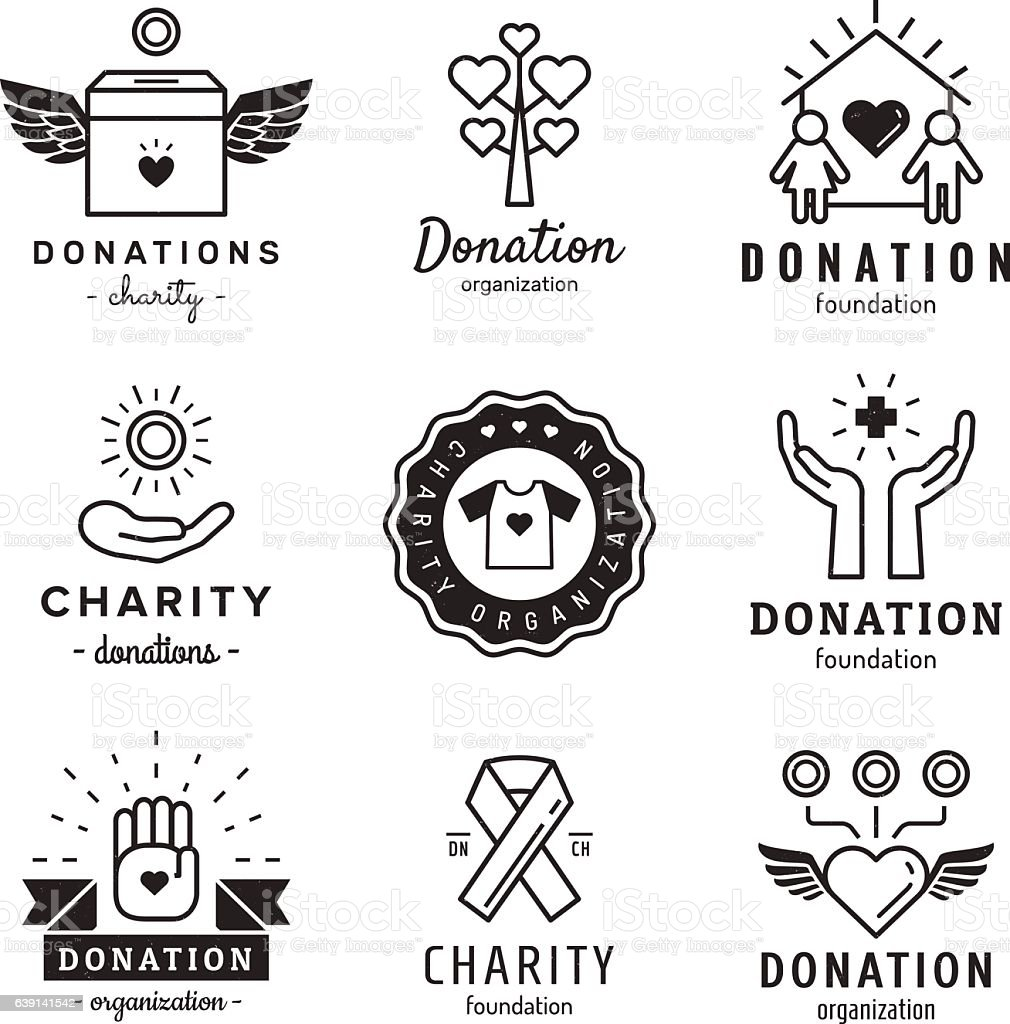 Donations and charity logo vintage vector set. Part two. vector art illustration