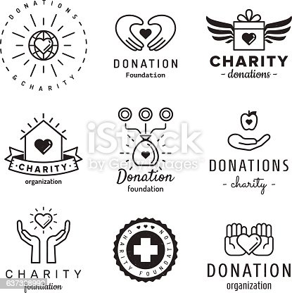 Donations and charity logo vintage vector set. Hipster and retro style.