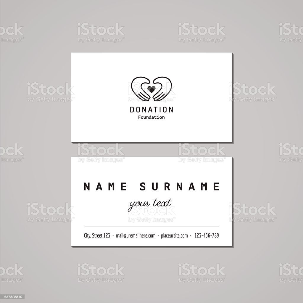 Donations Charity Business Card Design Stock Vector Art & More ...