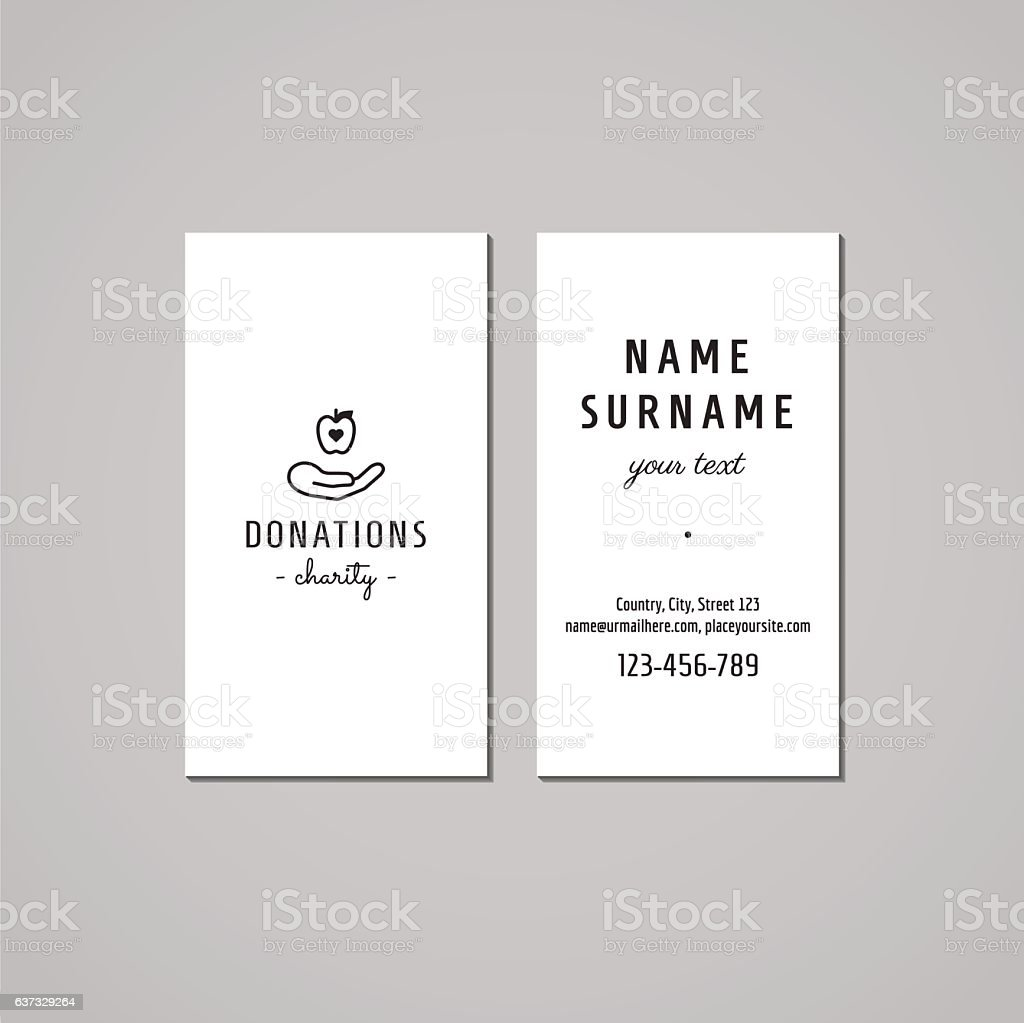 Donations charity business card design stock vector art more donations charity business card design hand apple logo royalty free colourmoves