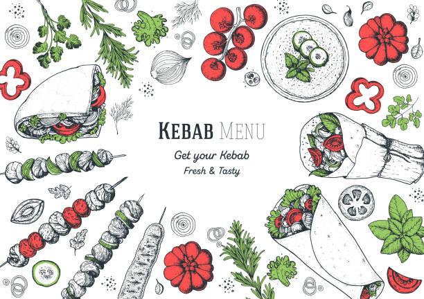 doner kebab und zutaten für kebab, skizze illustration. arabische küche rahmen. fast-food-menü-design-elemente. shawarma handgezeichneten rahmen. nahöstliche ernährung. - döner stock-grafiken, -clipart, -cartoons und -symbole