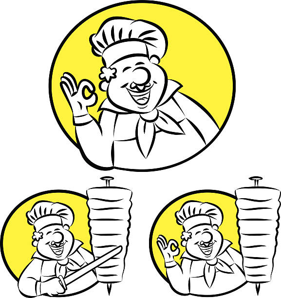 doner kebab cook - döner stock-grafiken, -clipart, -cartoons und -symbole