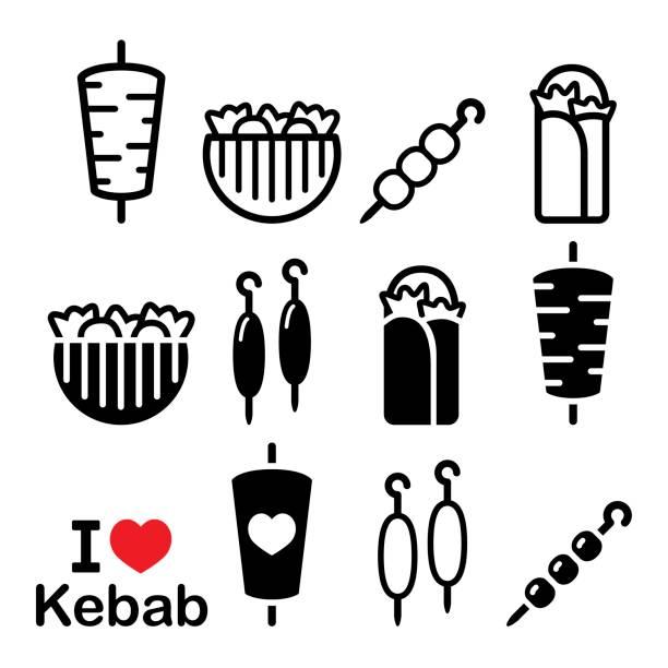 döner, gesetzt in adana kebab spieße symbole und wickeln oder pita brot, shish kebab - döner stock-grafiken, -clipart, -cartoons und -symbole