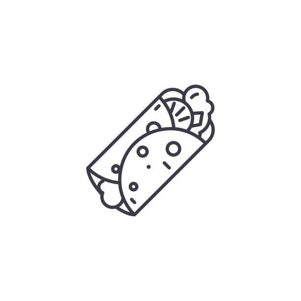 多納串的線性圖示概念。多納烤肉線向量符號, 符號, 插圖。向量藝術插圖