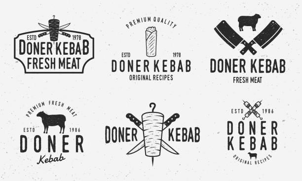 doner kebab logo-set. vektor kebab, shawarma, lamm, kebab sandwich-logo-set mit grunge textur isoliert auf weißem hintergrund. - döner stock-grafiken, -clipart, -cartoons und -symbole