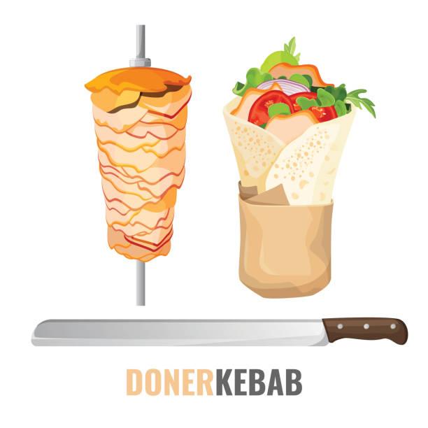 döner kebab promo poster mit treffen am spieß und messer - döner stock-grafiken, -clipart, -cartoons und -symbole