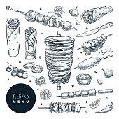 Doner kebab set. Vector hand drawn sketch illustration. Beef, lamb and chicken barbecue meat, restaurant design elements
