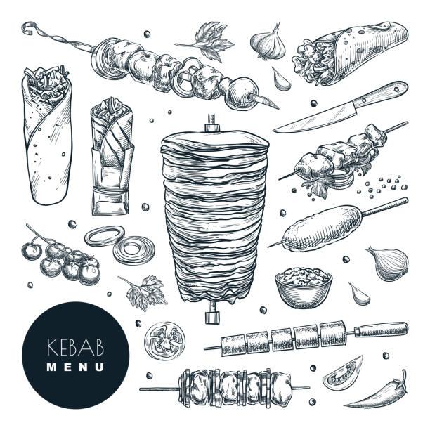 doner kebab set. vektor handgezeichnete skizze illustration. rind-, lamm- und hühnergrillfleisch, restaurant-designelemente - döner stock-grafiken, -clipart, -cartoons und -symbole