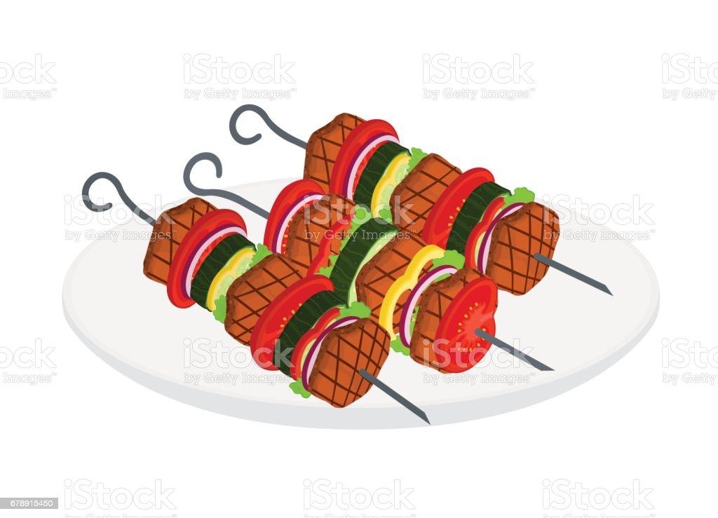 Doner kebab, chachlik dans un plat style dessin animé. Savoureuse viande rôtie. doner kebab chachlik dans un plat style dessin animé savoureuse viande rôtie – cliparts vectoriels et plus d'images de aliment libre de droits