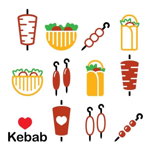 döner kebab-vektor-icons set kebap im wrap oder pita brot, shish und adana kebab spieße design - döner stock-grafiken, -clipart, -cartoons und -symbole