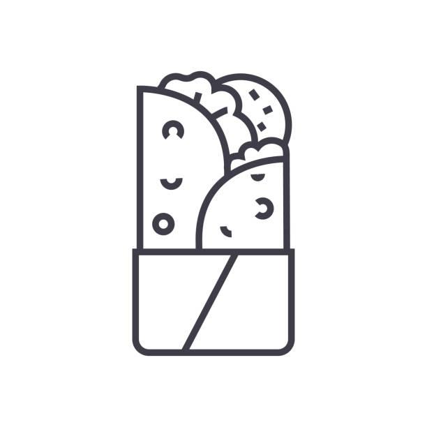 döner kebab vektor liniensymbol, zeichen, abbildung auf hintergrund, editierbare striche - döner stock-grafiken, -clipart, -cartoons und -symbole