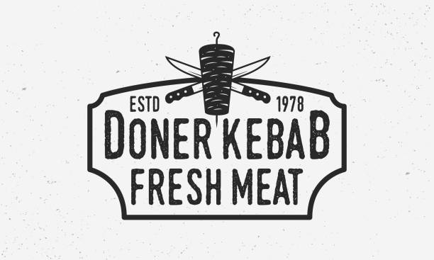 doner kebab vintage-logo. doner kebab mit kebab messer und vintage rahmen. design-element für logo, poster und emblem. vektor-illustration - döner stock-grafiken, -clipart, -cartoons und -symbole