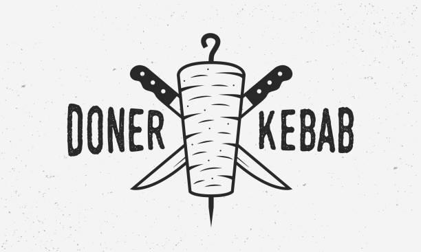 doner kebab vintage logo oder poster-vorlage. doner kebab mit kebab messer isoliert auf weißem hintergrund. design-element für restaurant-menü, café. trendige vintage-plakat. vektor-illustration - döner stock-grafiken, -clipart, -cartoons und -symbole