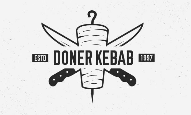 doner kebab vintage logo-vorlage. doner kebab mit kebab messer isoliert auf weißem hintergrund. retro-plakat für shop, restaurant, kebab-café. vektor-illustration - döner stock-grafiken, -clipart, -cartoons und -symbole