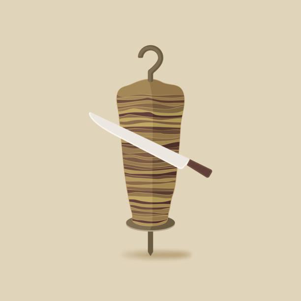 doner kebab mit messer alten hintergrund - döner stock-grafiken, -clipart, -cartoons und -symbole