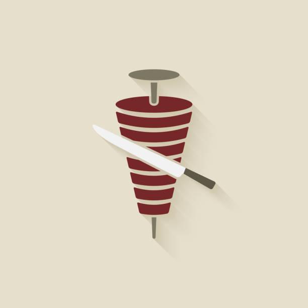 doner kebab mit messer - döner stock-grafiken, -clipart, -cartoons und -symbole