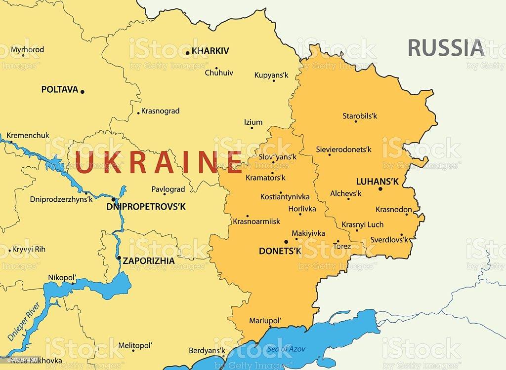 Donetsk And Lugansk Regions Of Ukraine Vector Map Stock Vector Art