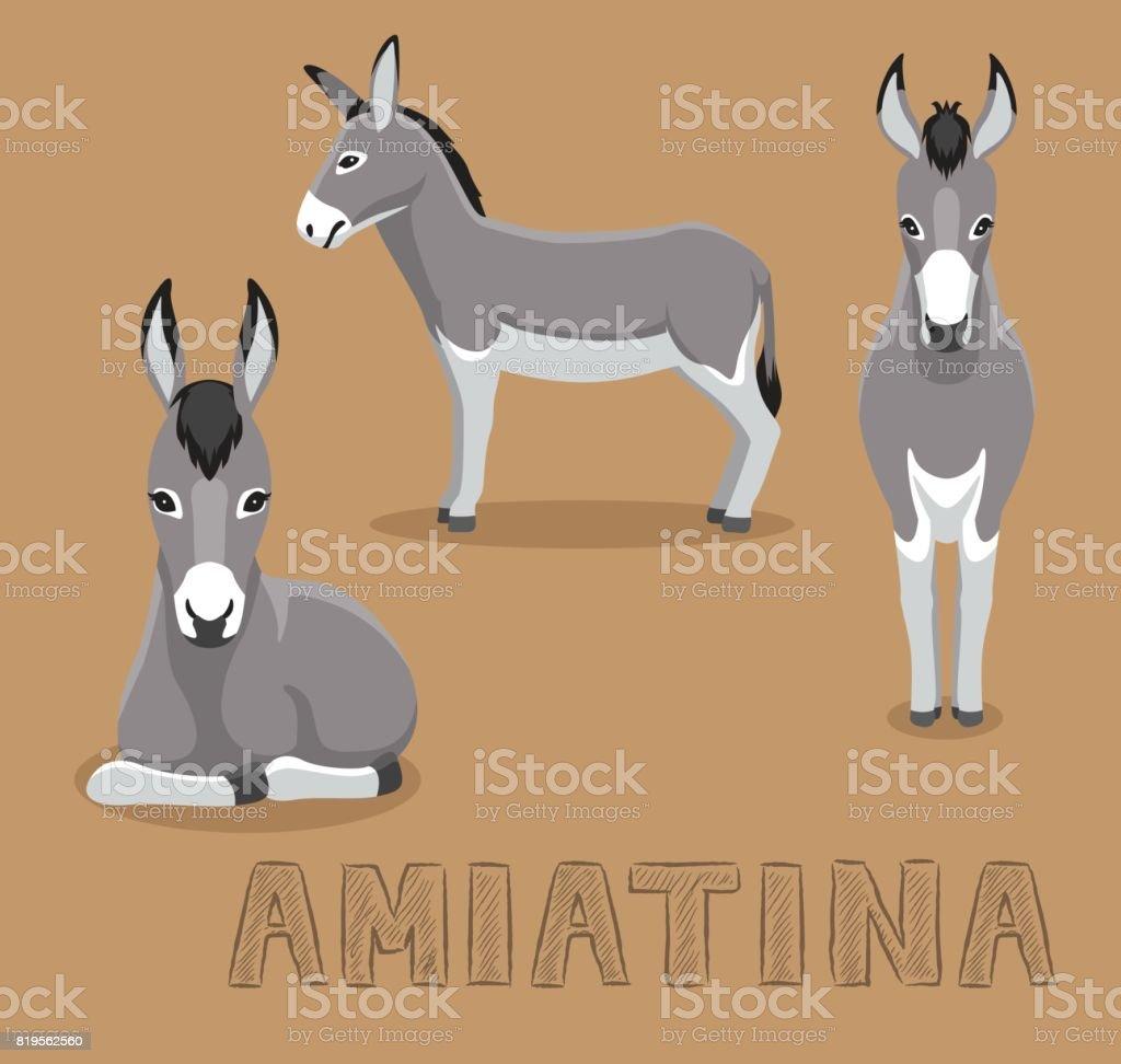 Donkey Amiatina Cartoon Vector Illustration - illustrazione arte vettoriale