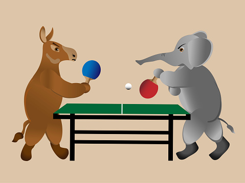 Donkey and elephant play ping-pong