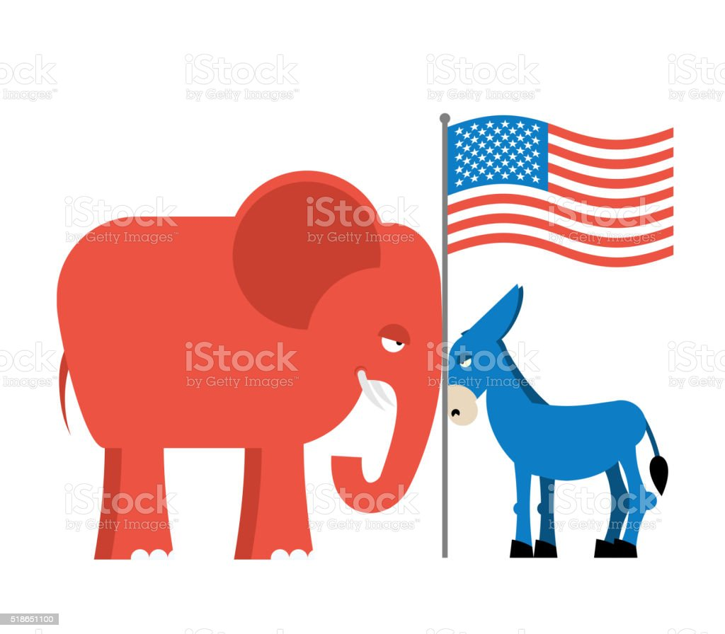 Donkey and elephant symbols of political parties in America. USA vector art illustration