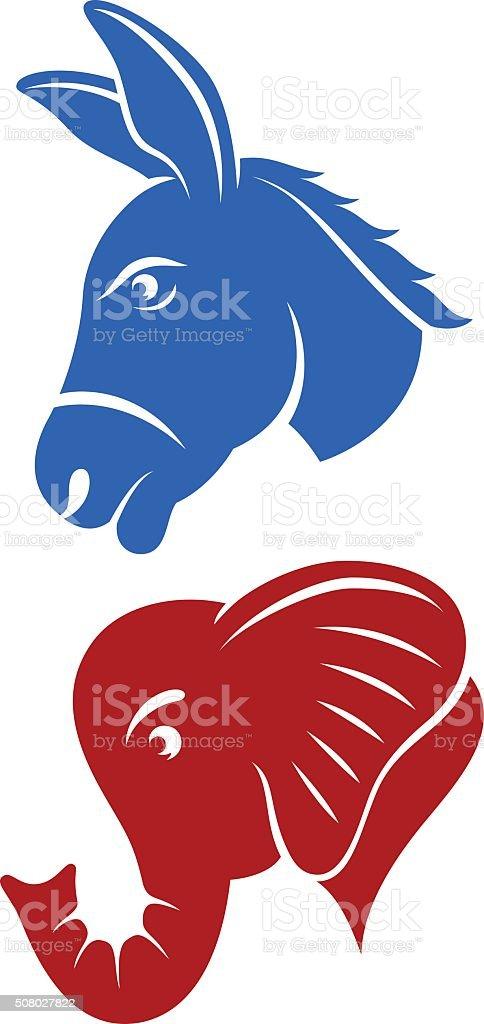 Donkey and Elephant vector art illustration