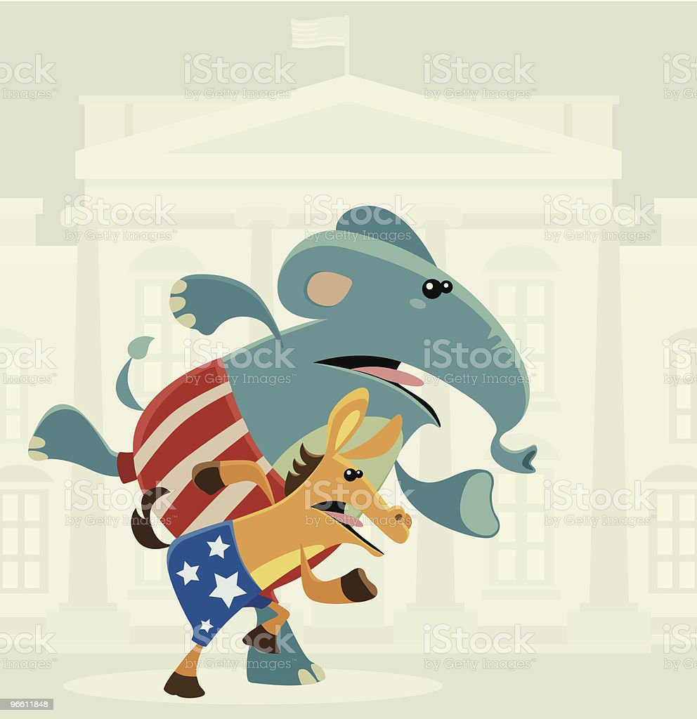 donkey and elephant - Royalty-free Amerikaanse cultuur vectorkunst