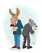 Vector illustration of donkey and rat in a metaphor