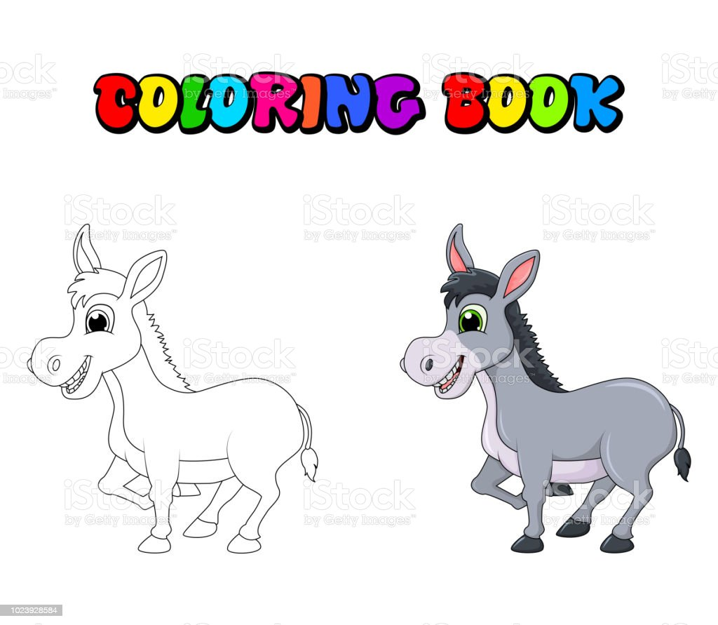 Ilustración De Personaje De Dibujos Animados De Burro Para Colorear