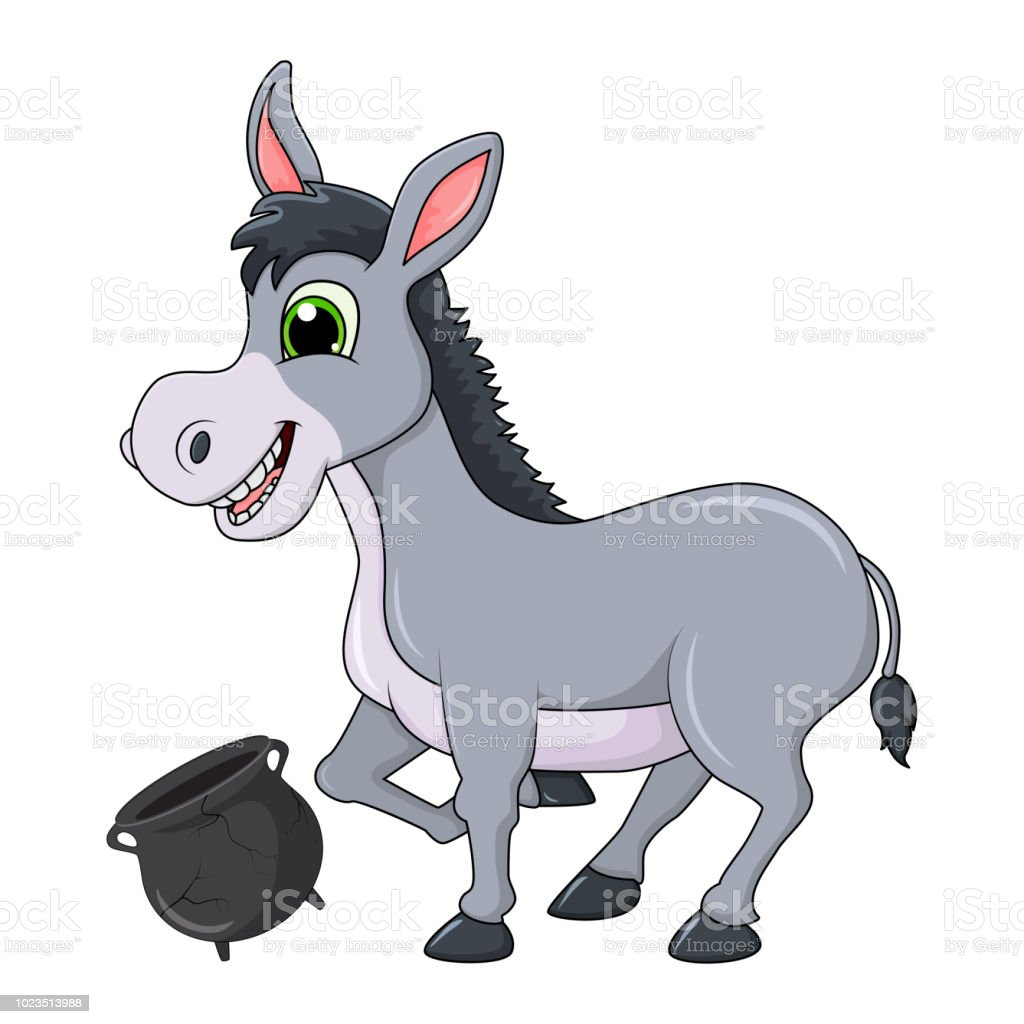 donkey cartoon character with broken pot vector design isolated on
