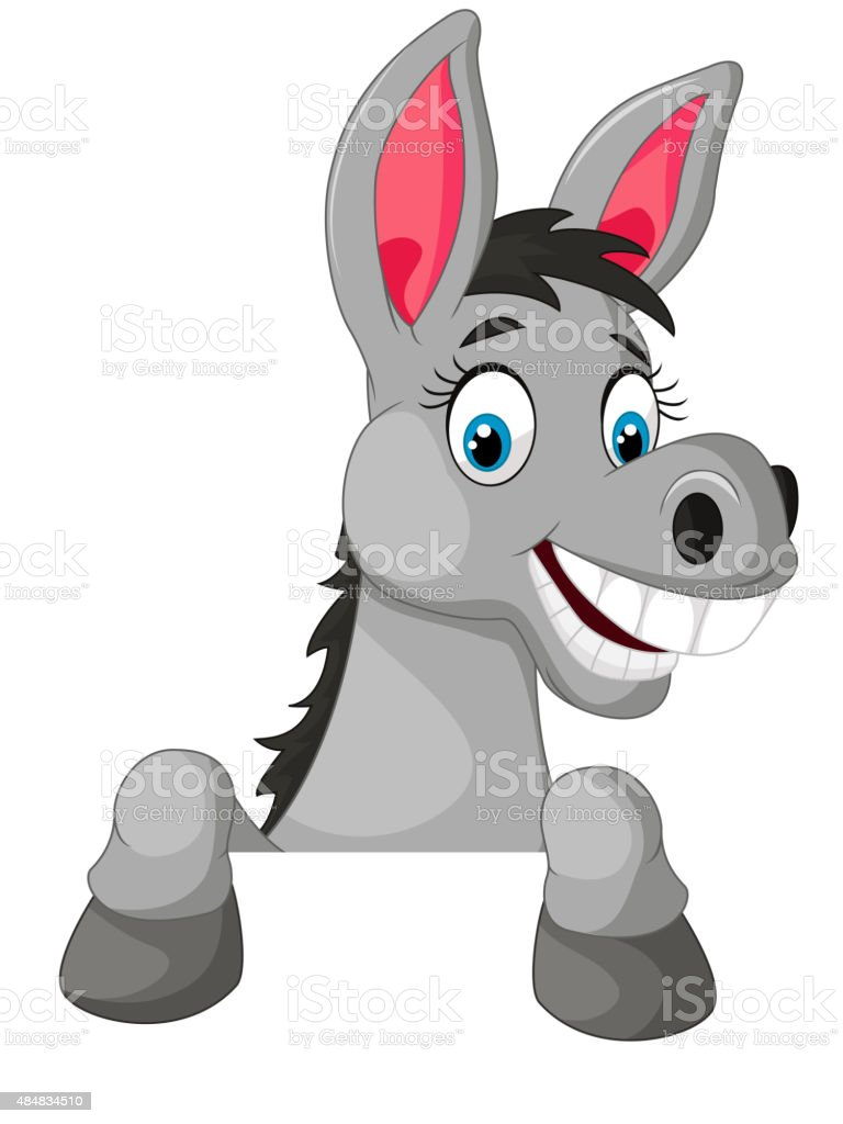 Donkey cartoon with blank sign vector art illustration