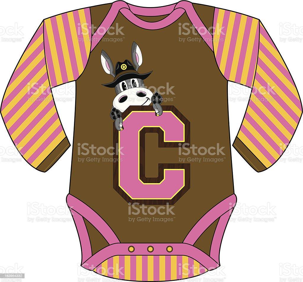 Donkey Cowboy Design Sleepsuit royalty-free stock vector art