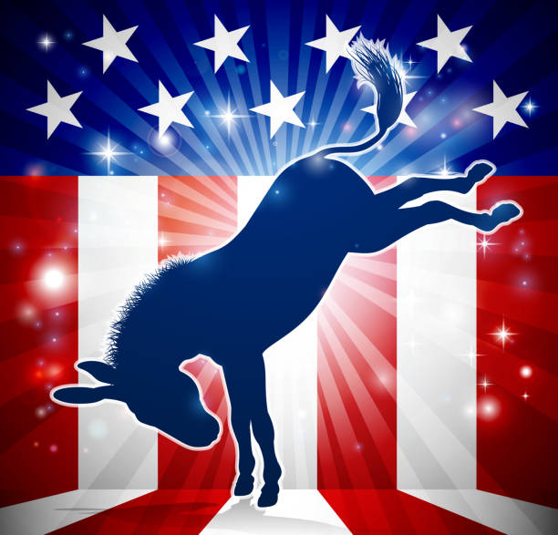 Donkey Democrat Political Mascot Kicking A donkey in silhouette kicking with an American flag in the background democrat political mascot democracy stock illustrations