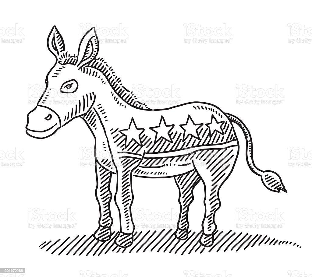 Asino partito democratico simbolo disegno - illustrazione arte vettoriale
