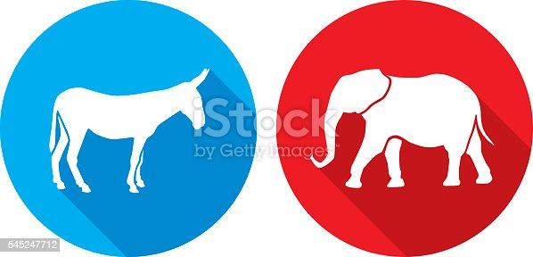 istock Donkey Elephant Icon Silhouettes 545247712