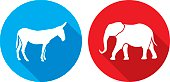 Vector illustration of blue donkey and red elephant icons in flat style.