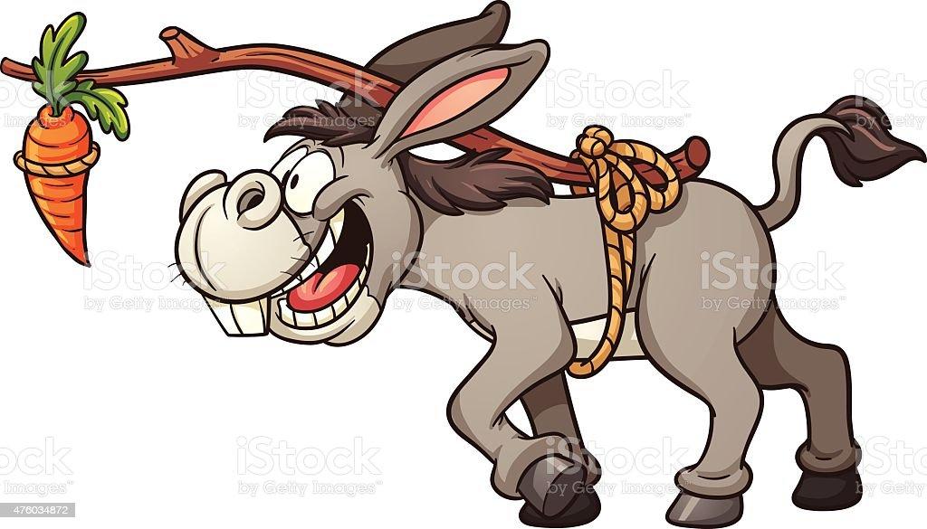 Donkey following carrot vector art illustration