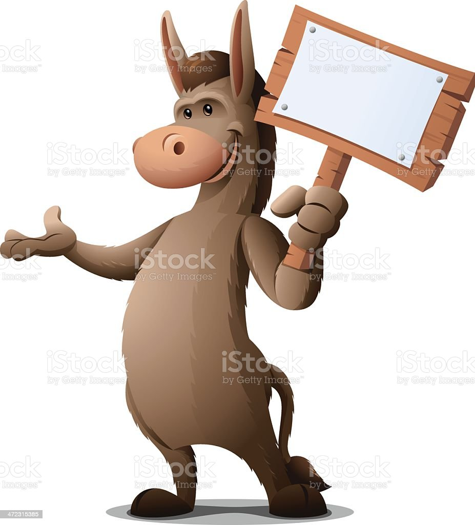 Donkey: Holding Sign royalty-free stock vector art