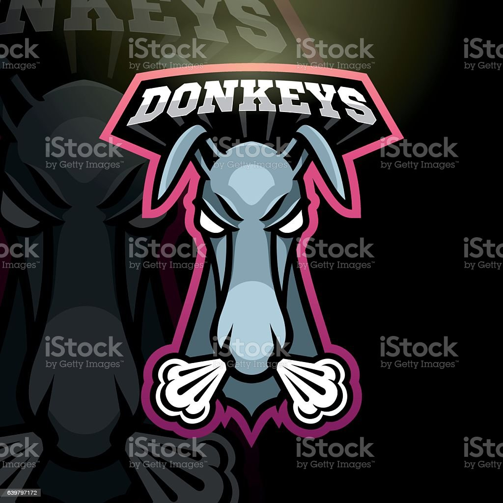 Donkey sport sign vector art illustration