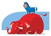 vector illustration of donkey standing on back of elephant