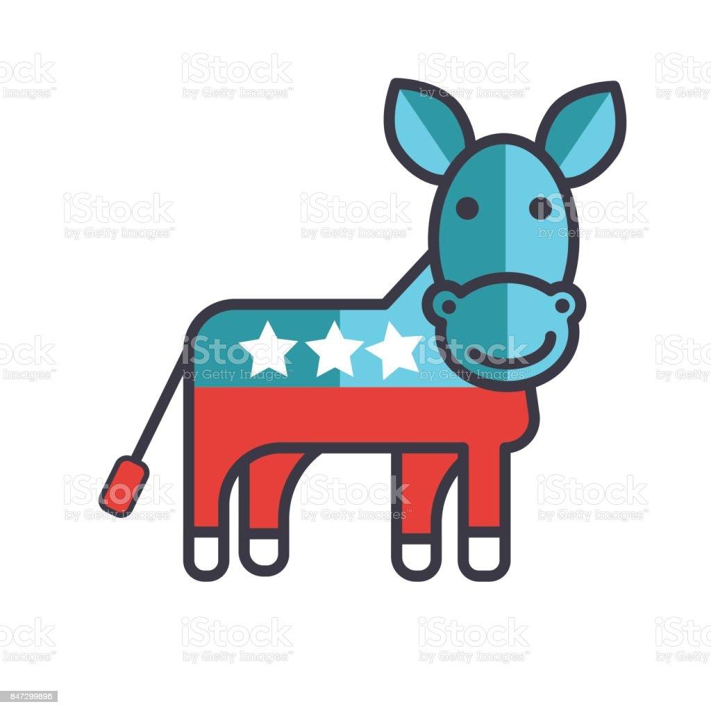 Donkey usa democrat party flat line illustration concept vector donkey usa democrat party flat line illustration concept vector isolated icon royalty biocorpaavc Image collections