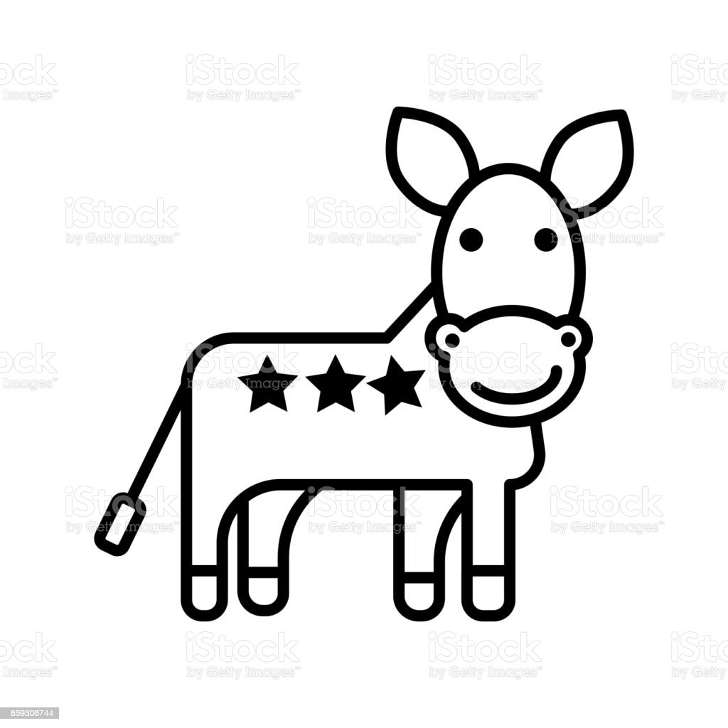 Donkey Usa Democratic Party Vector Line Icon Sign Illustration On