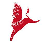 Donkey(Chinese traditional paper-cut art)