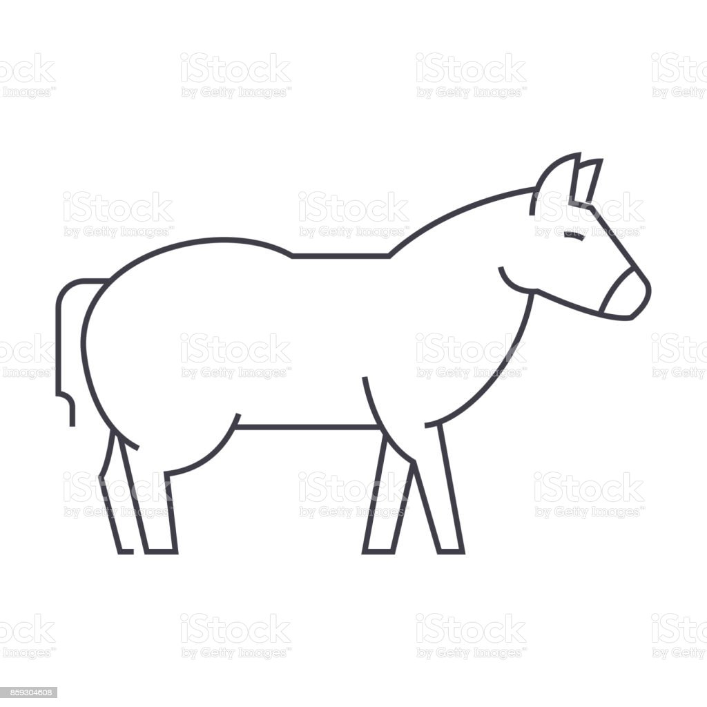 donkey vector line icon, sign, illustration on background, editable strokes vector art illustration