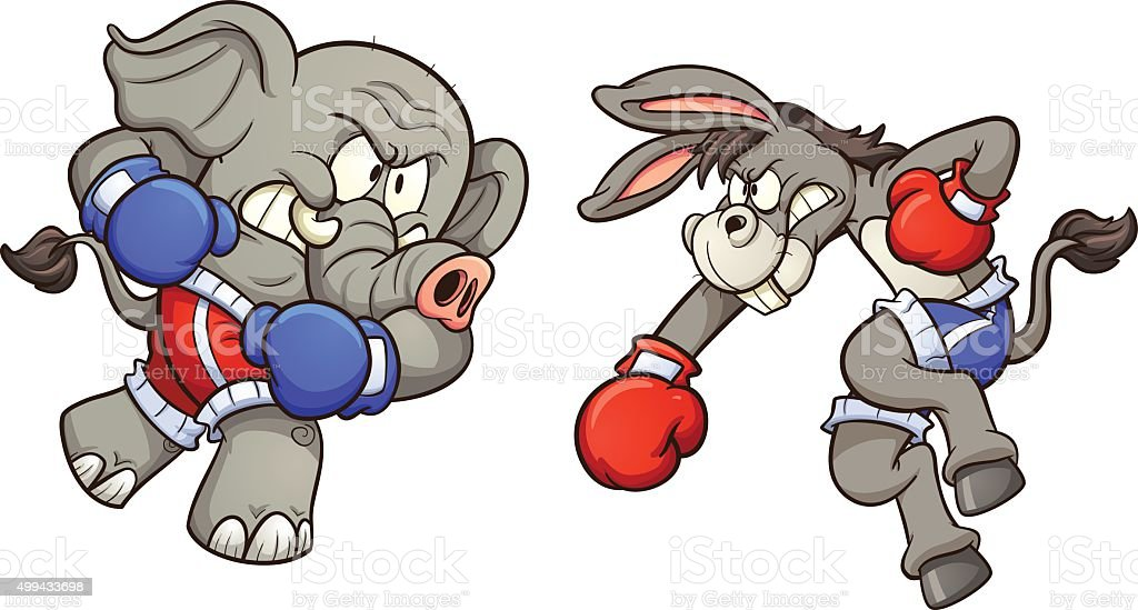 Donkey vs elephant vector art illustration
