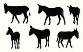 Donkeys Vector Silhouette