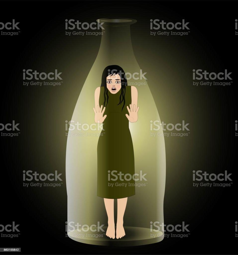 donna in bottiglia vector art illustration